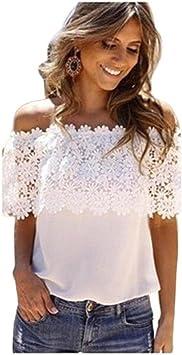 Blusa Mujer Sexy, Camiseta de Verano Mujer Sexy del Hombro Tops Casuales Blusa Camisa de Gasa de Encaje Blusas para Mujer Elegantes Camisas Mujer de Vestir: Amazon.es: Deportes y aire libre