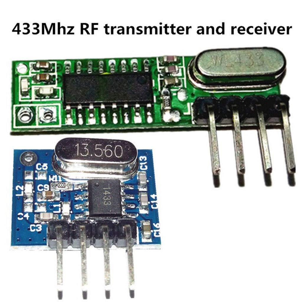 ZOUCY 1 Juego de m/ódulo transmisor de Receptor superheterodino de 433 MHz RF con Antena