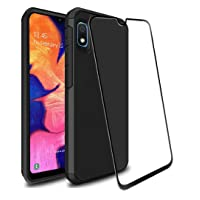 Galaxy A10e Case with 9H Tempered Glass Screen Protector, SunStory Heavy Duty [Dual...