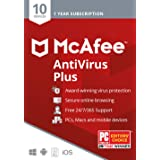McAfee AntiVirus Protection Plus 2020, 10 Device, Internet Security Software, 1 Year - Key Card