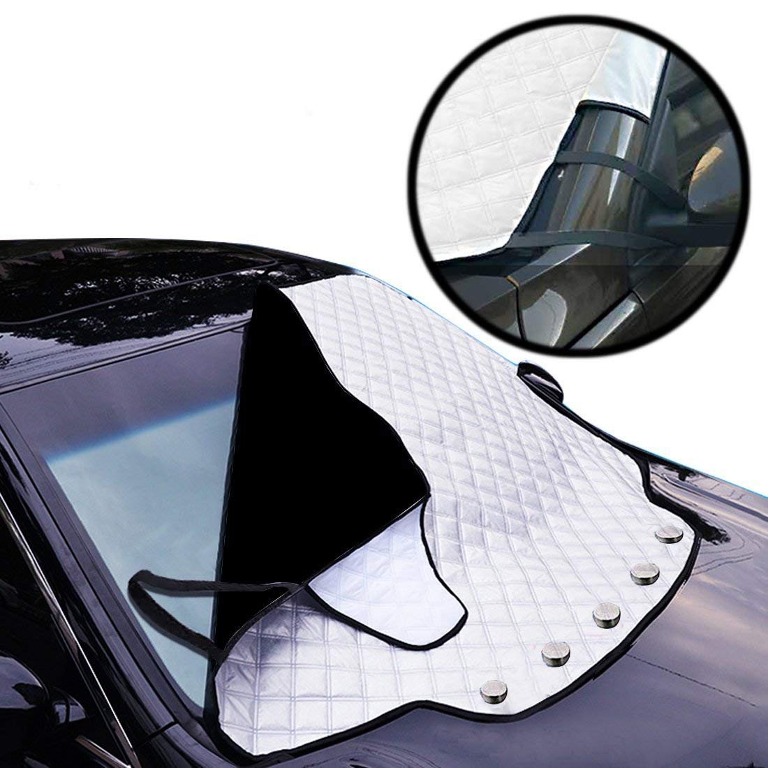 DongRong Car Windscreen Frost Cover - Magnetic Snow Cover Car Windshield Cover, Windshield Sun Protector with Five Magnet Cotton Thicker Windshield Winter Cover Fits for Most Cars