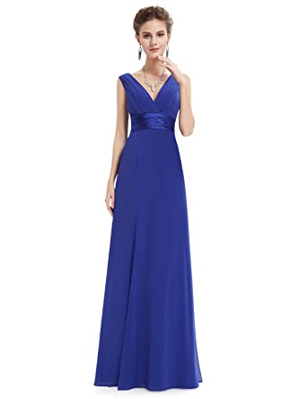 Ever Pretty Womens Sexy V-Neck Long Evening Dresses 20UK Sapphire Blue