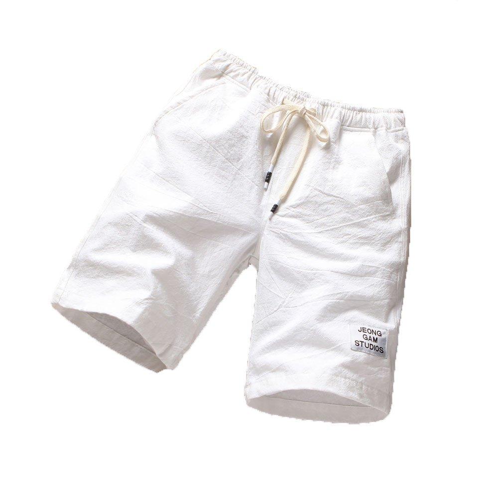 Malbaba Men Mens Beach Pants Sports Breathable Fashion Pants Summer Fitness Running Pants White