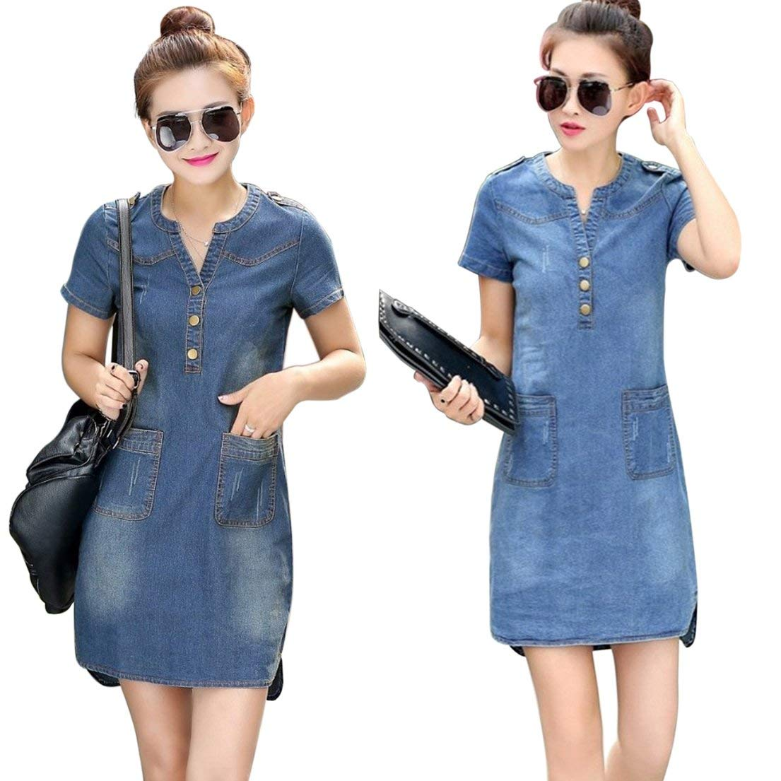 5a3a7e0ee39 Isabelvictoria Summer Short Sleeves Women Denim Dress Loose V-Neck Solid Denim  Dress Slim Thin Dresses Women Bodycon Female Clothing - Dark Blue M: ...