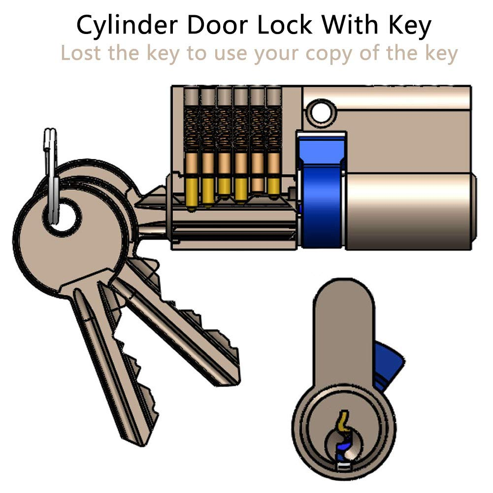 cerradura de puerta cilindro de puerta 30//30 cilindro perfilado Cilindro de cierre con 3 llaves de seguridad 60 mm cilindro de cierre BETOY cerradura de cilindro