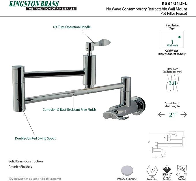 Kingston Brass KS8101DFL NuWave Wall Mount Pot Filler Kitchen Faucet 13L Polished Chrome