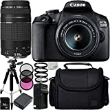 Canon EOS 1500D/Rebel T7 w/ 18-55mm Lens, 75-300mm Lens and 8pc Accessory Bundle – Includes 16GB SD Memory Card + Replacement Battery + Medium Case + MORE - International Version (No Warranty)