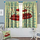 Vintage Decor Thermal Insulating Blackout Curtain Bingo Game with Ball and Cards Pop Art Stylized Lottery Hobby Celebration Theme Patterned Drape For Glass Door 52''x63'' Multi