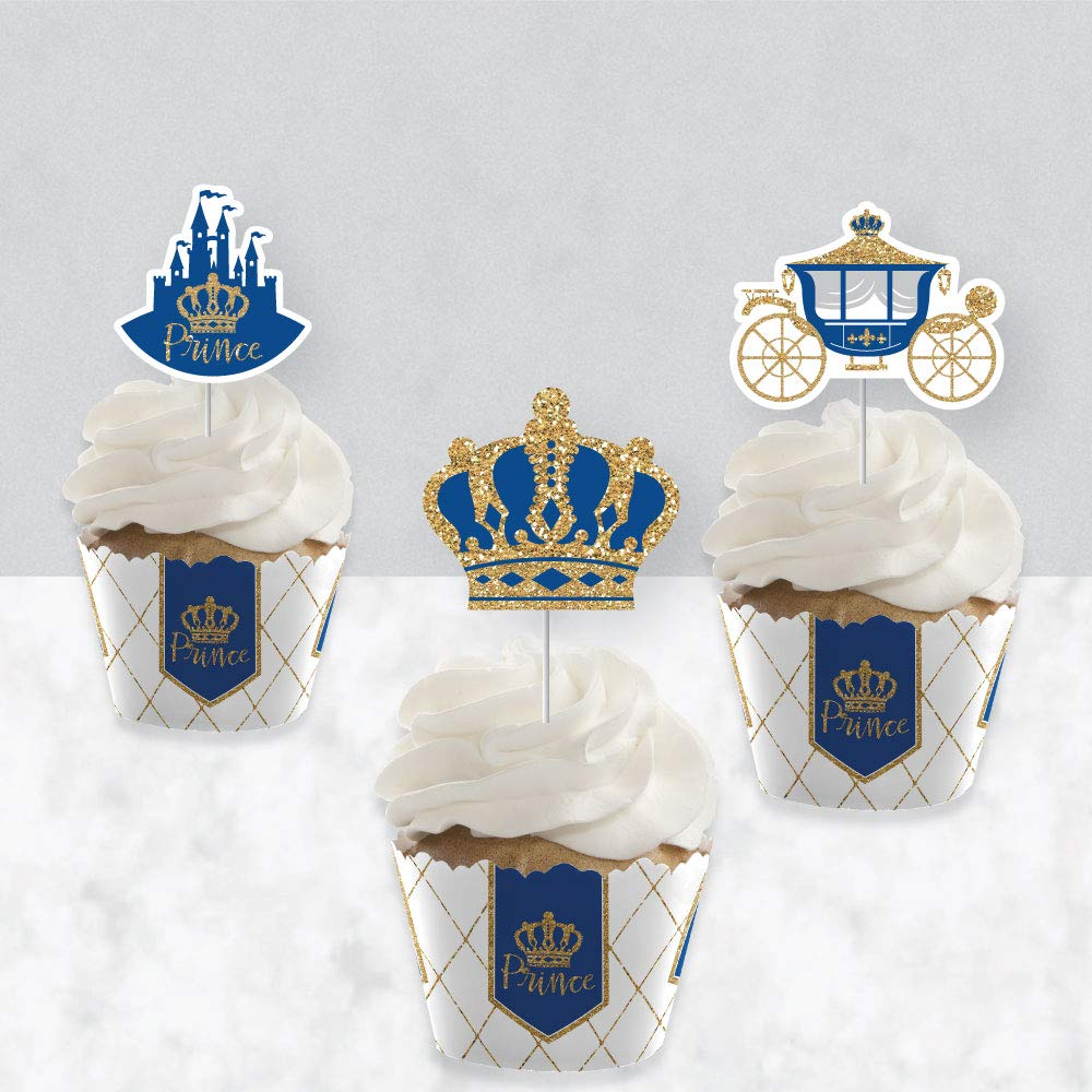 Set of 24 Cupcake Decoration Baby Shower or Birthday Party Cupcake Wrappers and Treat Picks Kit Royal Prince Charming