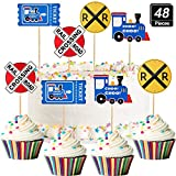 48 Pieces Railroad Party Crossing Decoration Railroad Train Crossing Cupcake Toppers Steam Train Cupcake Picks for Birthday Party Railway Steam Train Theme Party