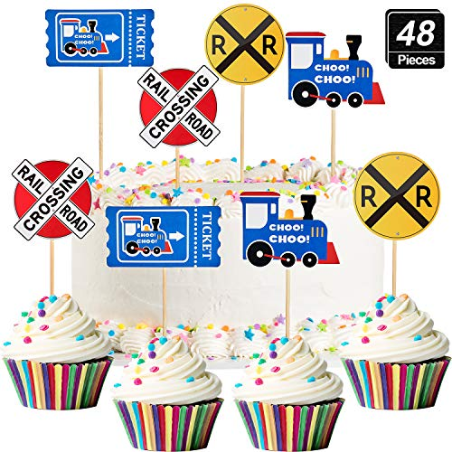 48 Pieces Railroad Party Crossing Decoration Railroad Train Crossing Cupcake Toppers Steam Train Cupcake Picks for Birthday Party Railway Steam Train Theme Party (Cupcake Toppers Railroad)