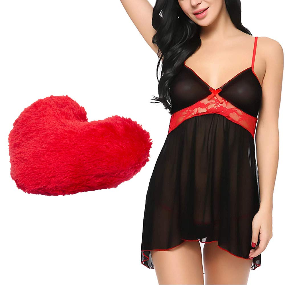 Buy Billebon Comfortable Honeymoon Dress Combo Sexy Lingerie And Dress Honeymoon Dresses For Women With Heart Pillow Great For Special Nights Black At Amazon In
