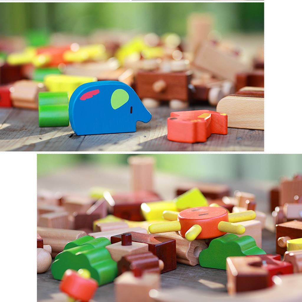HXGL-Toys Wooden Toys Animal Parks Building Blocks Puzzles Early Education Gifts Pieces (Color : Multi-Colored) by HXGL-Toys (Image #4)