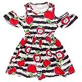 So Sydney Toddler Girls Cold Shoulder Flutter Short Sleeve Stretch Cotton Dress (L (5), Apple Back to School)
