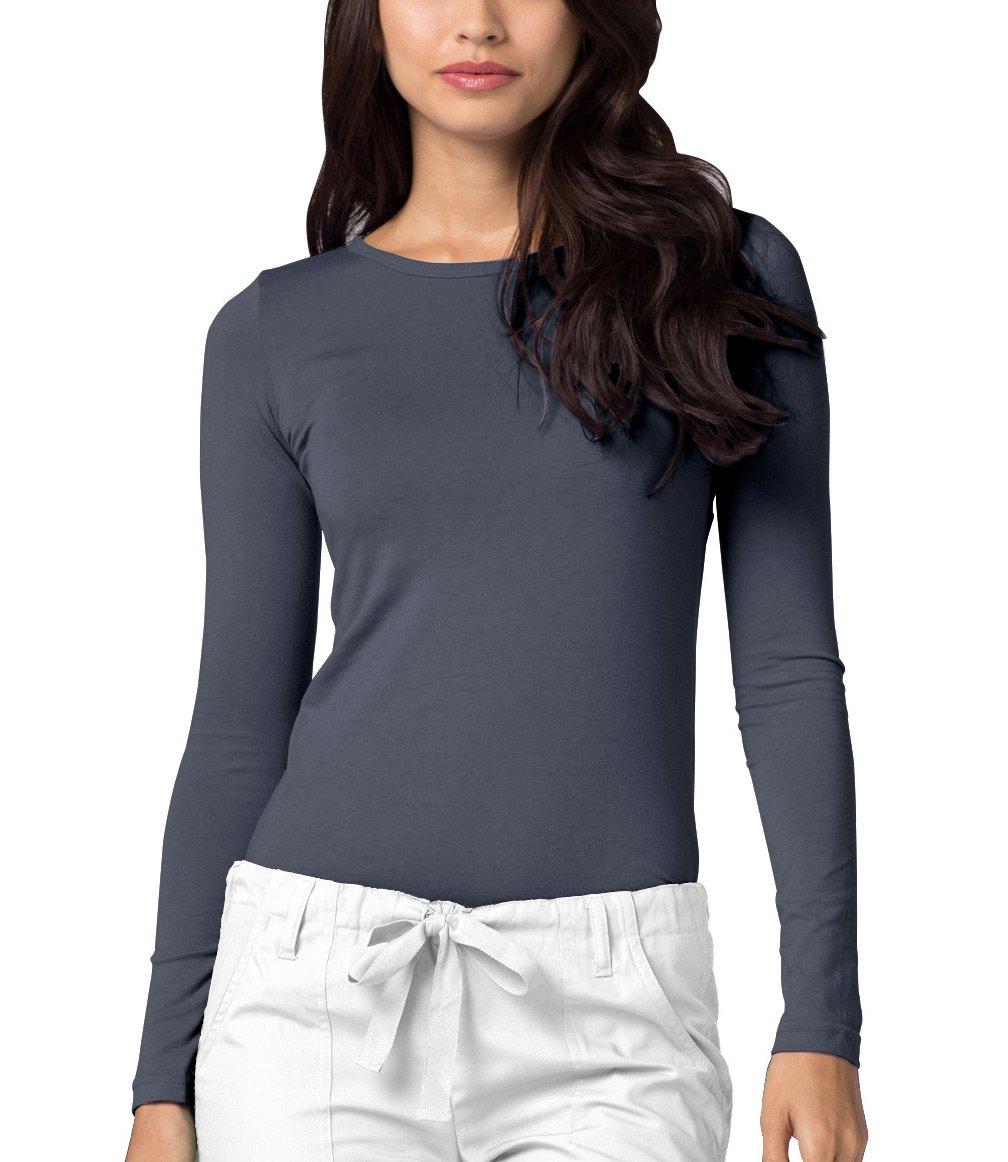 Adar Womens Comfort Long Sleeve T-Shirt Underscrub Tee - 2900 - Pewter - XS