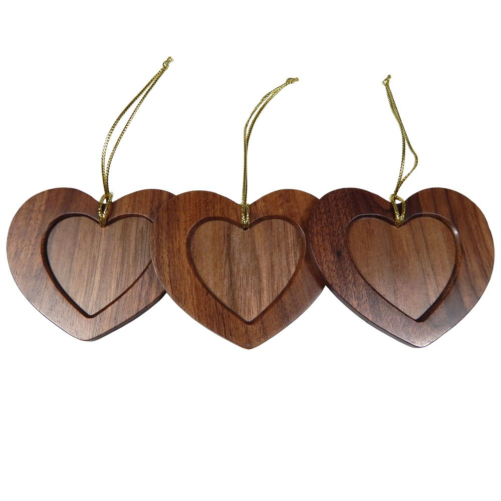 Tomokazu Embarcadero Walnut Wood Heart Photo Christmas Ornament, Pack of 3
