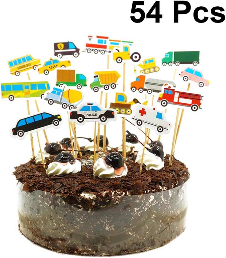 Tremendous Amosfun 54Pcs Car Cake Toppers Cake Decoration Transportation Birthday Cards Printable Inklcafe Filternl