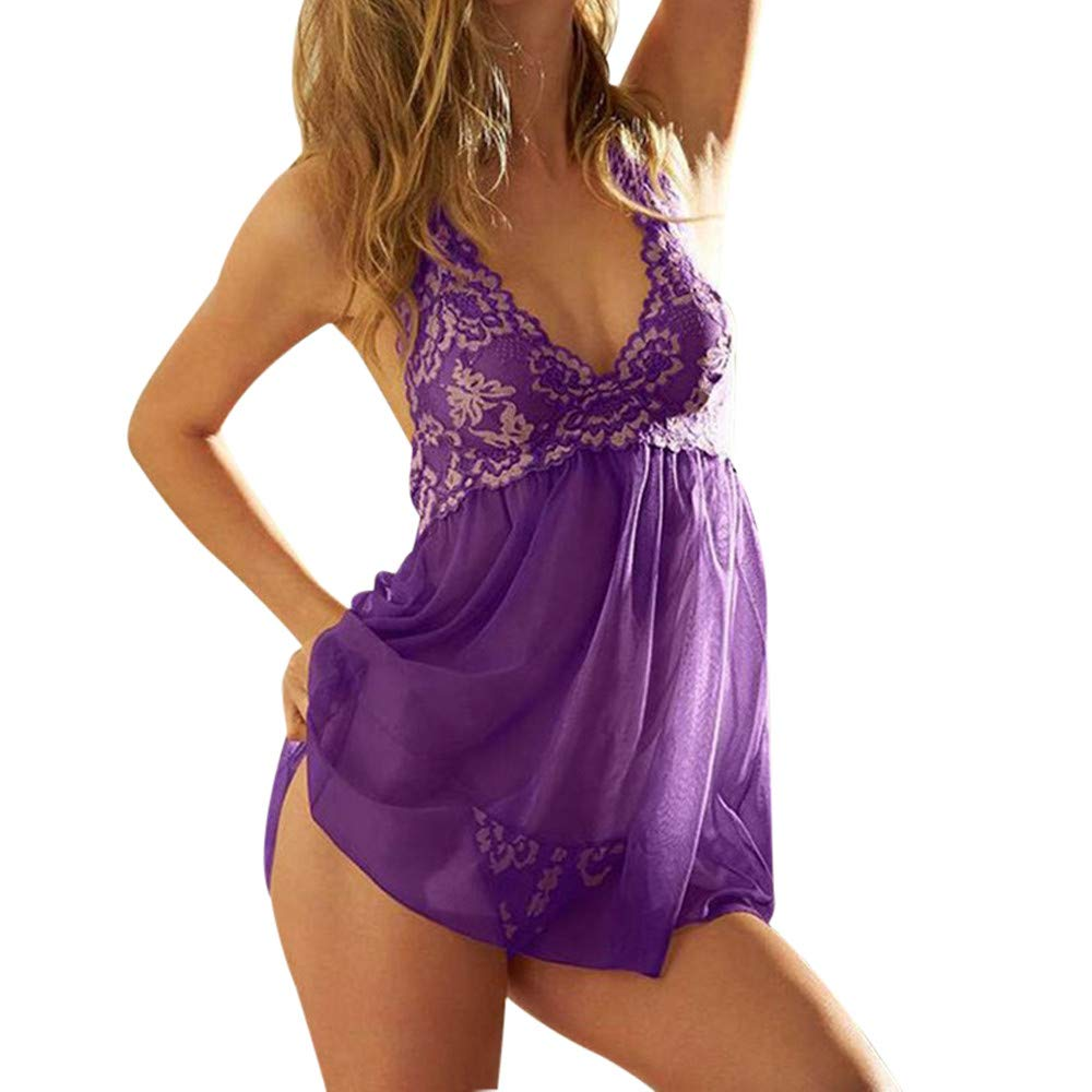 Women's Lace Underwear Mini Nightdress+G-String,Connia Sexy Floral Babydoll Lingerie Corset Sleepwear Gift to Lovers (XXL, D)