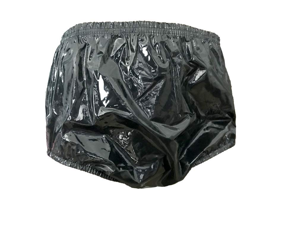 X-Large Haian Adult Incontinence Pull-on Plastic Pants Color Shiny Transparent Black