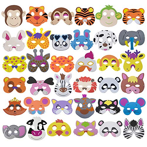 Werewolf Foam - Aspire 36PCS Assorted Foam Animal Masks for Party Supplies, Animal Masks Dress-Up Party Accessory