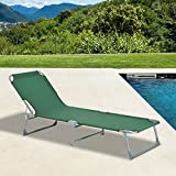 Outsunny Outdoor Folding Sun lounger Camping Portable Recliner Patio Beach Light Weight Chaise Garden Reclining Chair (Green)