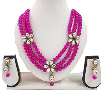 a74cd307f Buy Apsara Art Jewellery Royal Kundan Look Rani Pink Color Pearl with White  Stone Studded Jewellery Necklace Set with Earrings for Women Online at Low  ...