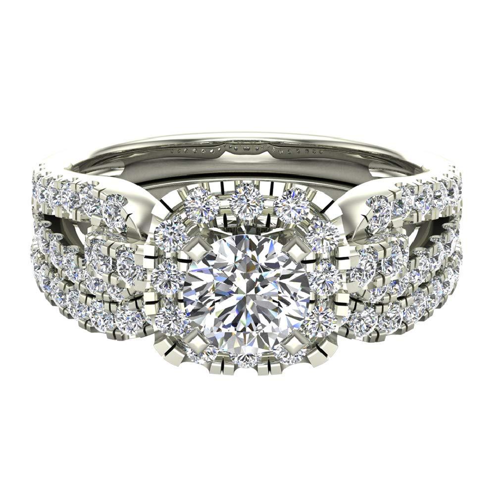 Diamond Loop Shank Cushion Shape Wedding Ring Set 1.05 Carat Total Weight 14K White Gold (Ring Size 5.5) by Glitz Design (Image #4)