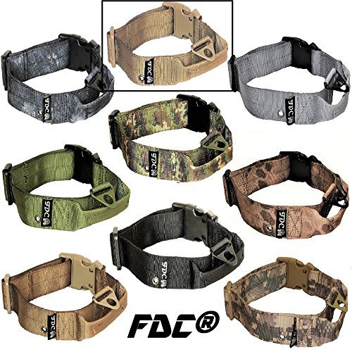 """FDC Dog Tactical Collars with Handle HEAVY DUTY Training Military Army WIDTH 1.5in Plastic Buckle TAG HOLE Medium Large M, L, XL, XXL (XL: Neck 16"""" - 20"""", Coyote Desert Tan)"""