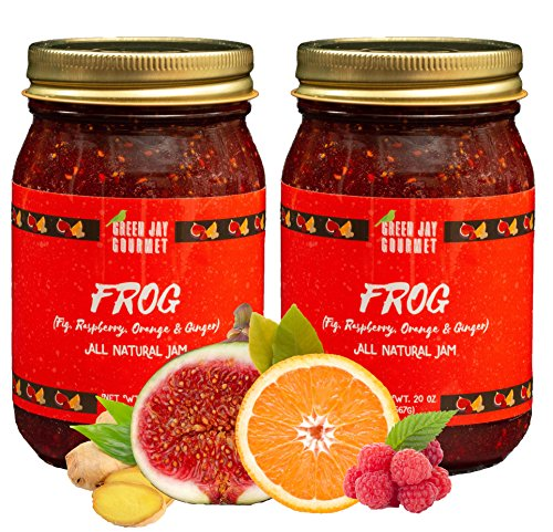 Green Jay Gourmet FROG Jam - All-Natural Raspberry Jam with Figs, Red Raspberries, Orange Juice & Ginger - Vegan, Gluten-free Fruit Jam - Contains No Preservatives - Made in USA - 2x 20 Ounces