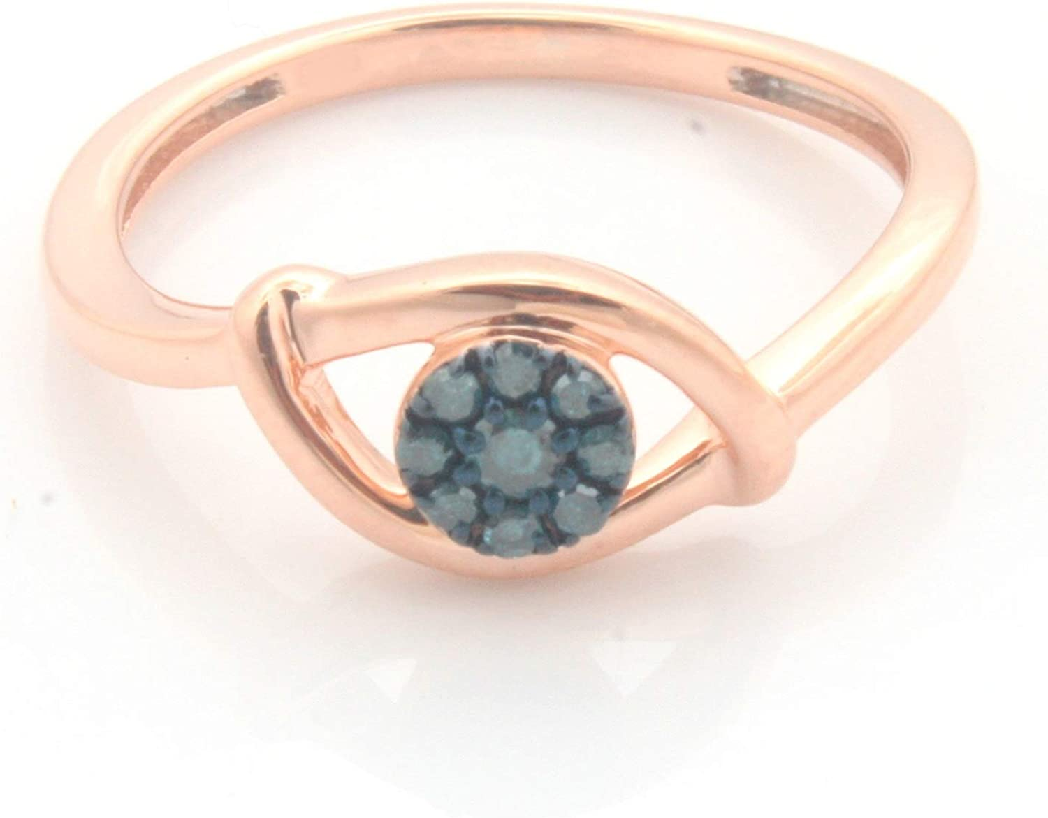 Prism Jewel Round Blue Diamond Cluster Light Weight Cluster Ring