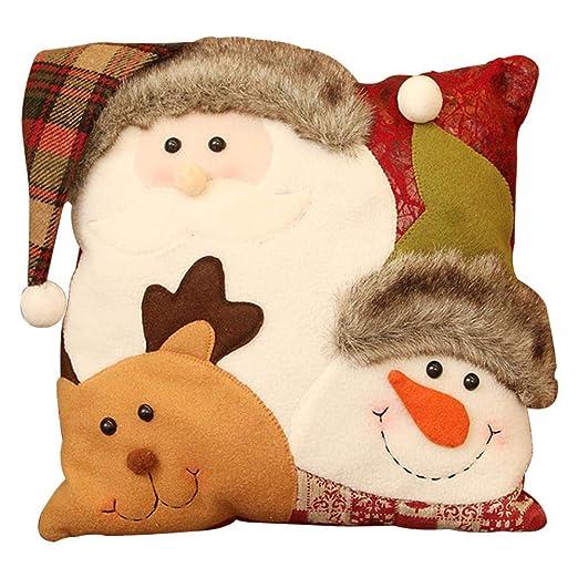 Funda de almohada de Navidad wendaby Christmas Series Funda de cojín Funda de almohada Patrón de combinación de muñeco de nieve de Navidad Funda de ...
