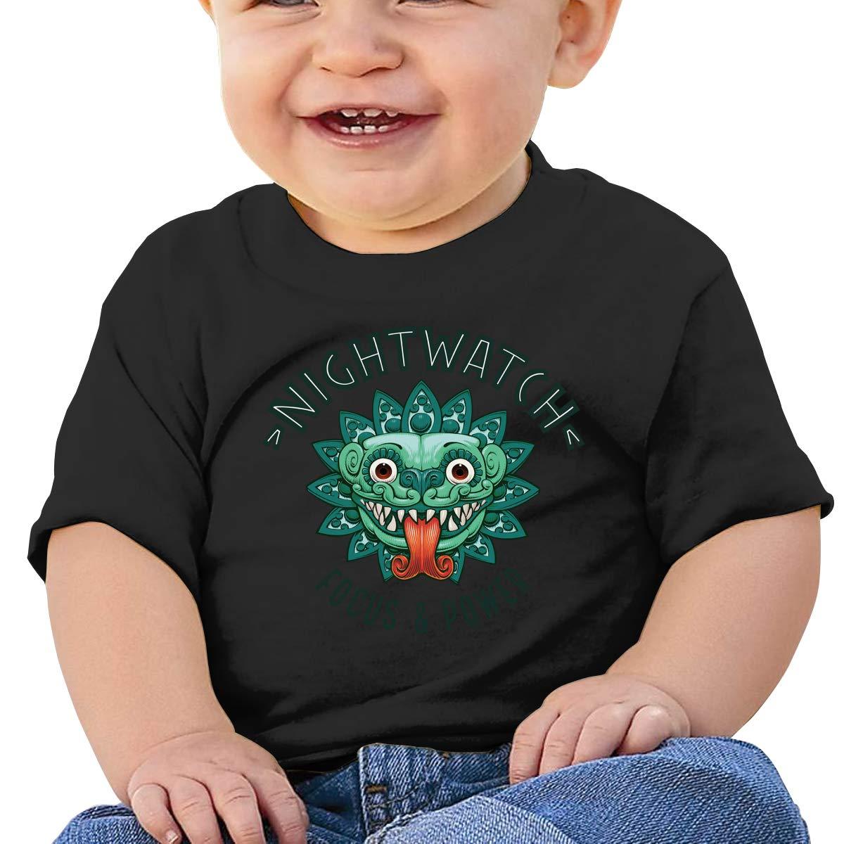 Hazhisha Nightwatch Baby T-Shirt with Round Collar and Pure Cottonblack