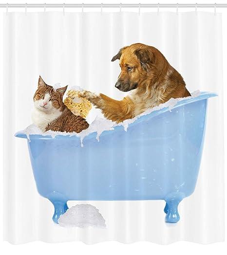 ABAKUHAUS Gato Cortina de Baño, Perro y Gato Juntos en la Tina con Burbujas Tomando