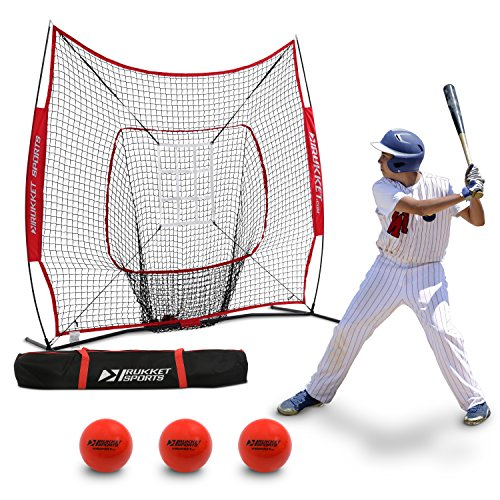 Rukket 6pc Baseball/Softball Bundle | 7x7 Hitting Net | 3 Weighted Training Balls | Strike Zone Target | Carry Bag | Practice Batting, Pitching, Catching | Backstop Screen Equipment Training Aids (Batting Baseball Weighted)