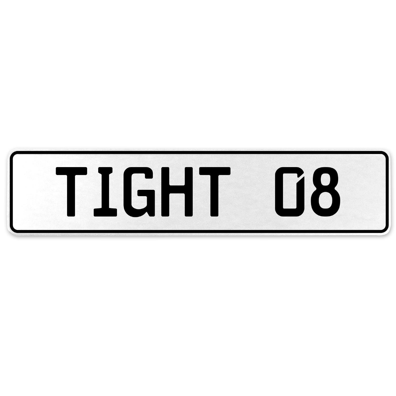 Vintage Parts 554704 Tight 08 White Stamped Aluminum European License Plate