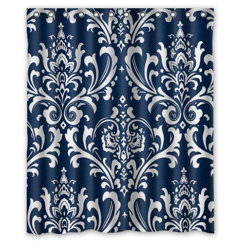 Futefew Personalized Bathroom Decor Navy Blue Damask Pattern Shower Curtain  60u0026quot; X 72u0026quot;