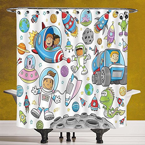 Durable Shower Curtain 3.0 by SCOCICI [ Outer Space Decor,Cute Deep Space Astronaut Girl Boy Aliens Rockets on Moon Kids Nursery Theme,Multi ] Polyester Fabric Bathroom Shower Curtain by SCOCICI