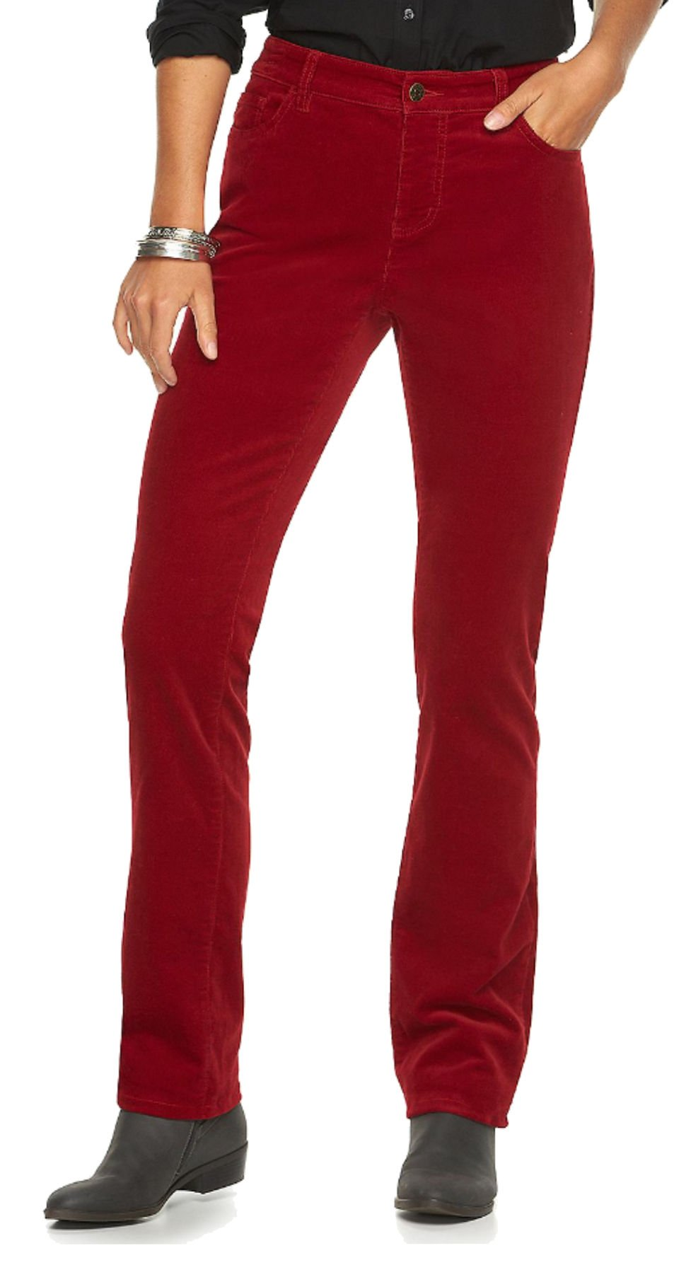 Chaps Women's Fine Corduroy Slimming Fit Pants (16 Short, Heritage Red)