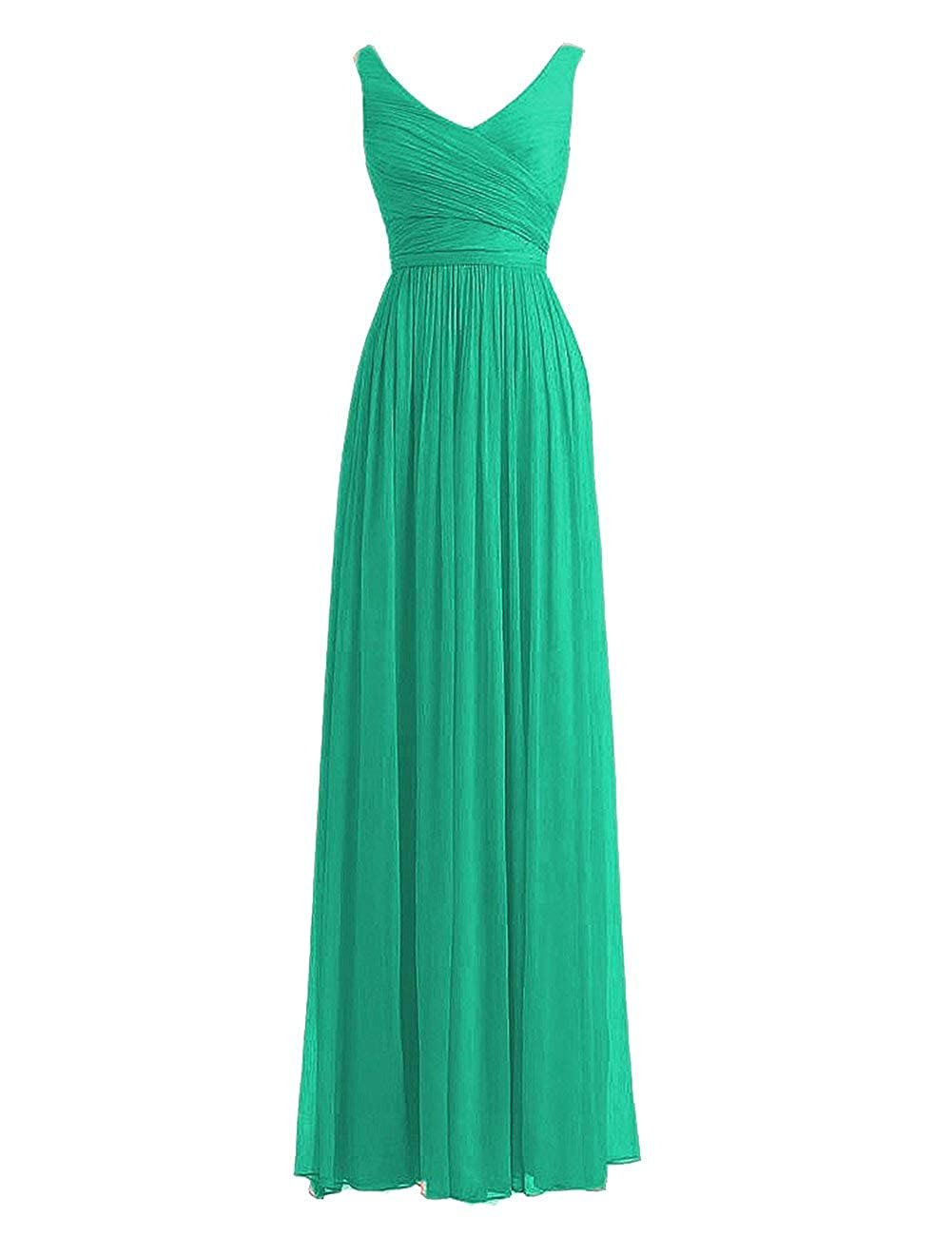 Green Fanciest Women's Double V Neck Long Bridesmaid Dresses 2018 Wedding Party Dress