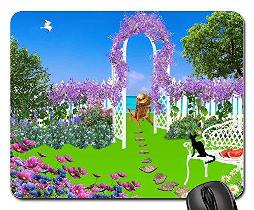Price comparison product image Mouse Pad - Garden Flowers Nature Plant Pink Flowers Trees