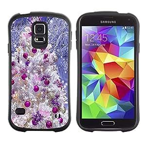 Paccase / Suave TPU GEL Caso Carcasa de Protección Funda para - Christmas Tree Decorations Purple White Snow - Samsung Galaxy S5 SM-G900