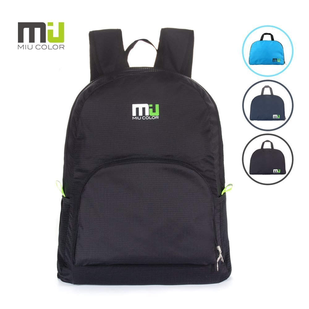 MIU COLOR Foldable and Durable Lightweight Backpack, Packable Waterproof Daypack, Black