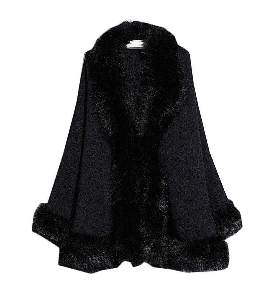 Kelaixiang Faux Fox Fur Shawls Jackets Plus Size Coats Wraps Winter Scarves (Black)