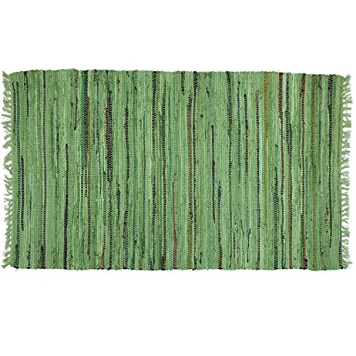 Sturbridge 2'x 3' Primitive Decor Rag Rug in Sage Green, 100