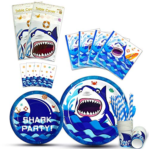WERNNSAI Shark Party Tableware Set - Serves 16 Guests Blue Ocean Pool Party Supplies for Boys Kids Birthday Baby Shower Includes Cutlery Bag Table Cover Plates Cups Napkins Straws Utensils 146 PCS