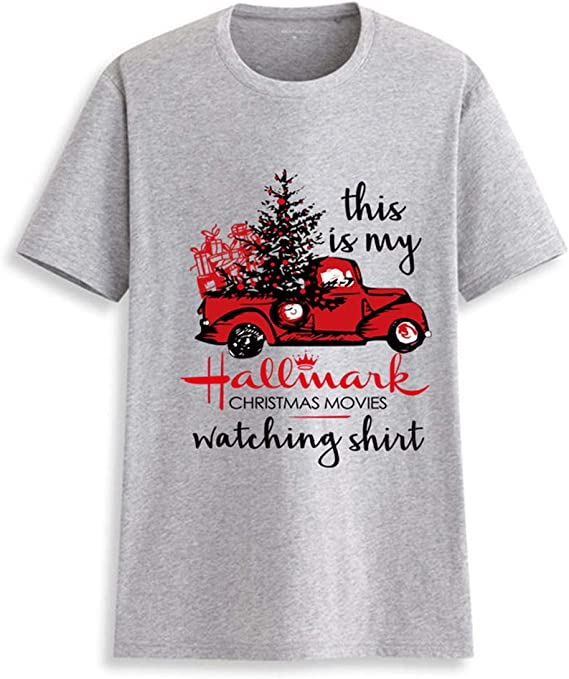 Merry Christmas T-Shirt Women This is My Hallmark Christmas Movies Watching Shirt Sleeve Tee Tops Blouse at Amazon Women's Clothing store
