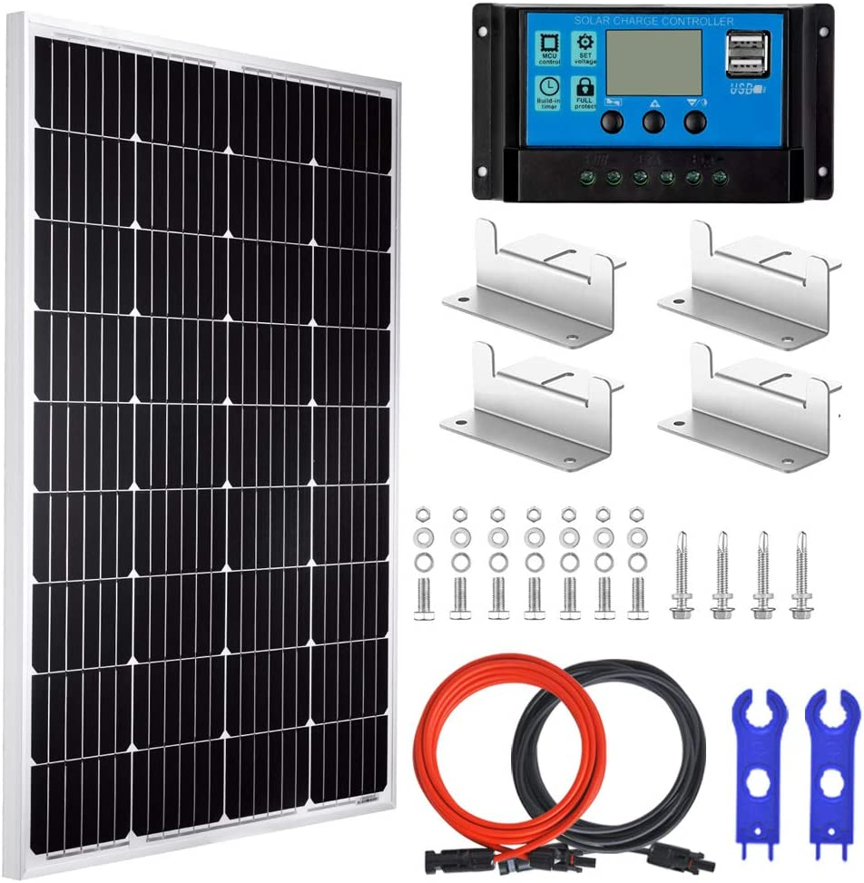 Pikasola 100 Watt 12V Solar Panel Kit for Off Grid RV Boat: 100W Monocrystalline Solar Panel Grade A + 20A LCD Solar Charge Controller + MC4 Extension Cable + Mounting Z-Brackets