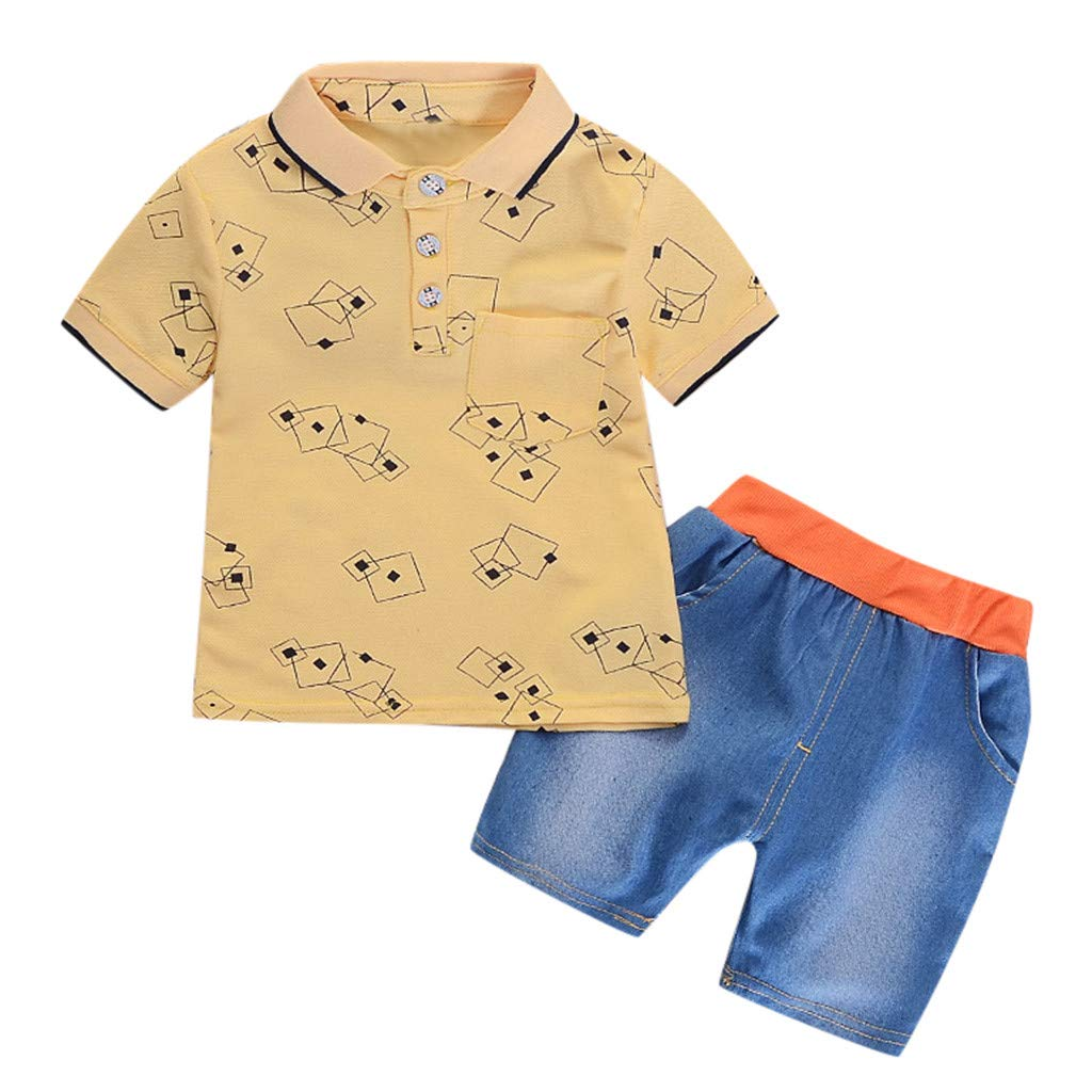 Baby Unisex Clothes 9-12 Months,Infant Baby Girl Gentleman Geometric Shirt Print Denim Shorts 2PC Set Outfits,Baby Boys' Clothing Sets,White,2-3T