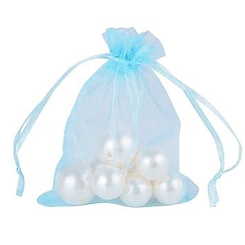 f3cf96923 100Pcs Bolsas Bolsitas de Organza 10x12cm para Caramelo Dulces Regalo  Recuerdo Arroz Favores Detalles de Boda (Azul Claro): Amazon.es: Hogar