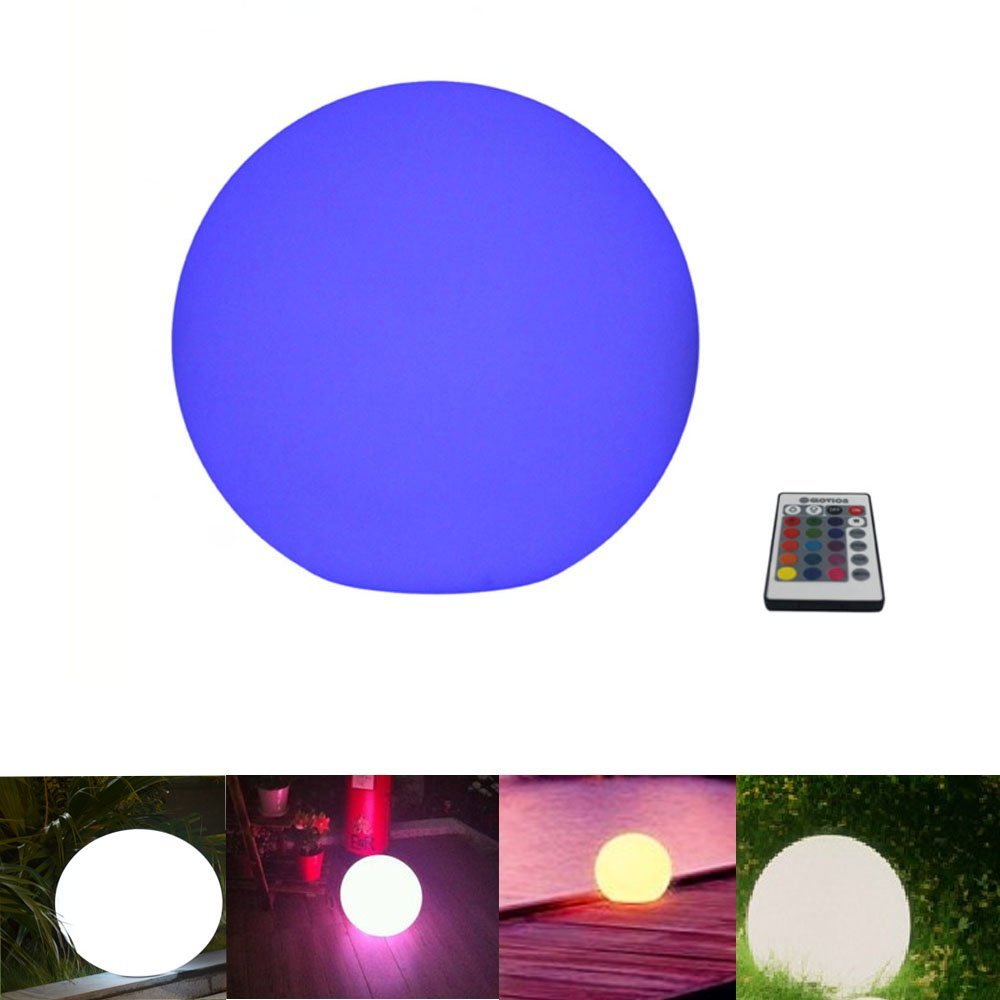 Glovion Outdoor/indoor Waterproof Rechargeable LED Ball Light Mood Lamp - Cordless - RGB Colorful Changing Remote Control -12''Inch